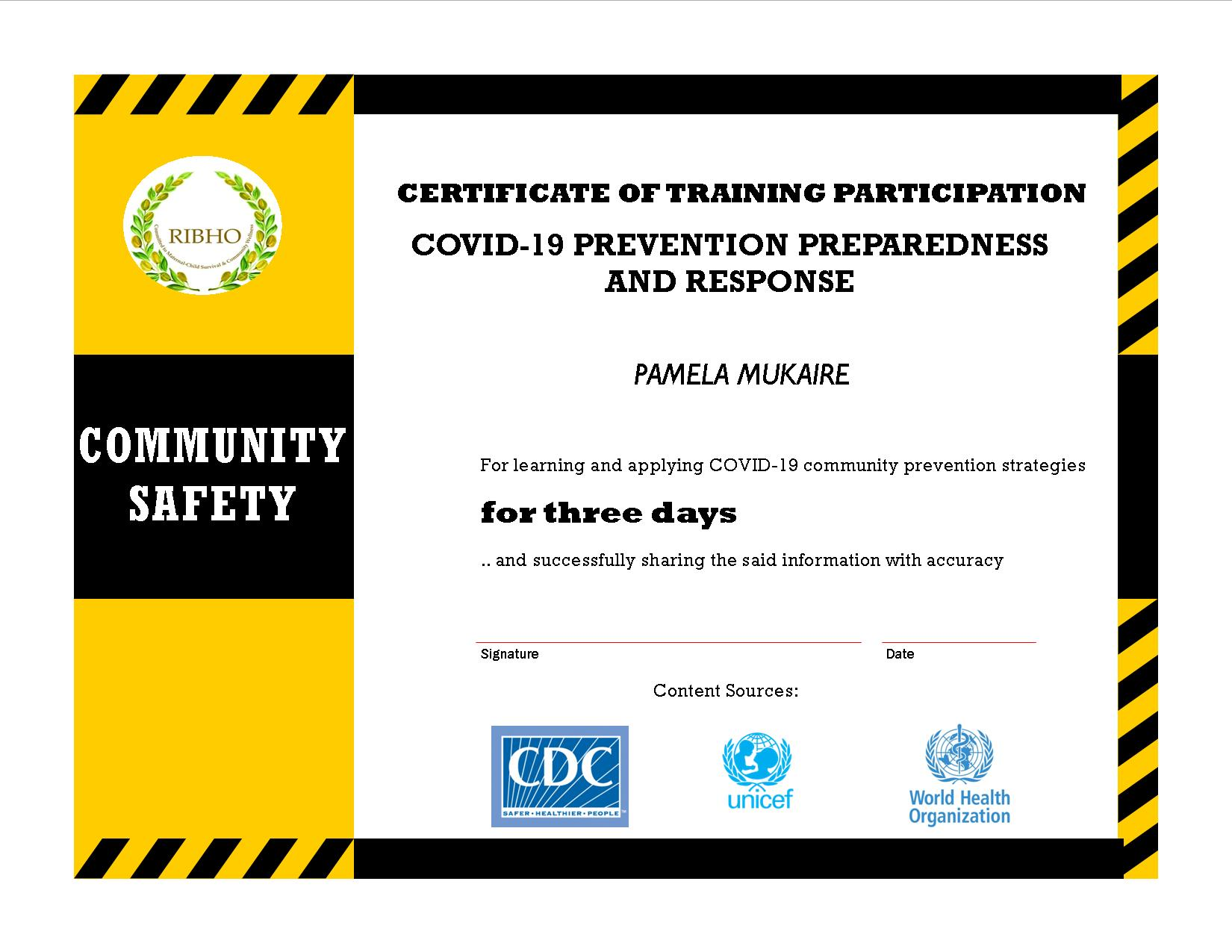 RIBHO COVID-19 Certificate - April 2020 Training